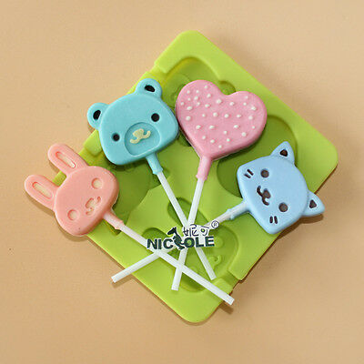 Cartoon Silicone Lollipop Pop Mold Cake Chocolate Candy Baking Tray Stick Tools