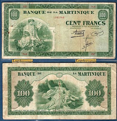 100 Franken 1942 Selten J52 748-1283748 Martinique Martinique
