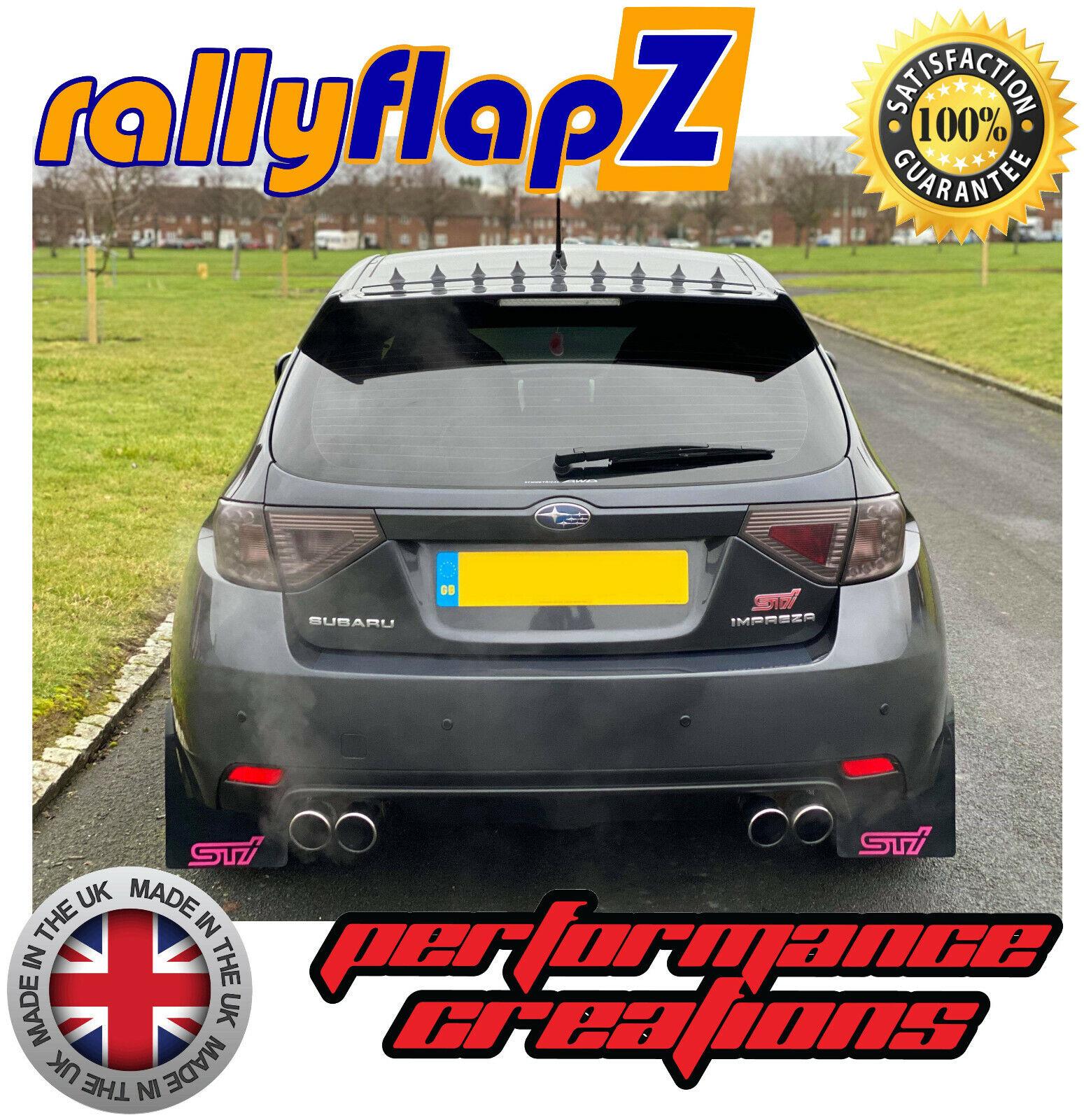 Mudflaps SUBARU IMPREZA Sedán 10-14 RallyflapZ 4 mm PVC Negro Rosa Sti estilo SML