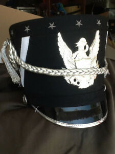 Fruhauf-marching-band-hats-Black-white-with-silver-look-braid-and-Eagle-Emblem