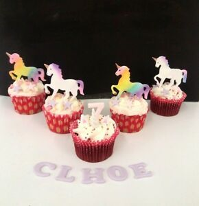 Image Is Loading Unicorn Rainbow Edible Cake Decorations Birthday Christening