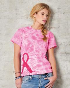 Mujer-Mujer-Conciencia-Del-Cancer-Mama-Rosa-Lazo-Tie-Dye-100-Camiseta-Algodon