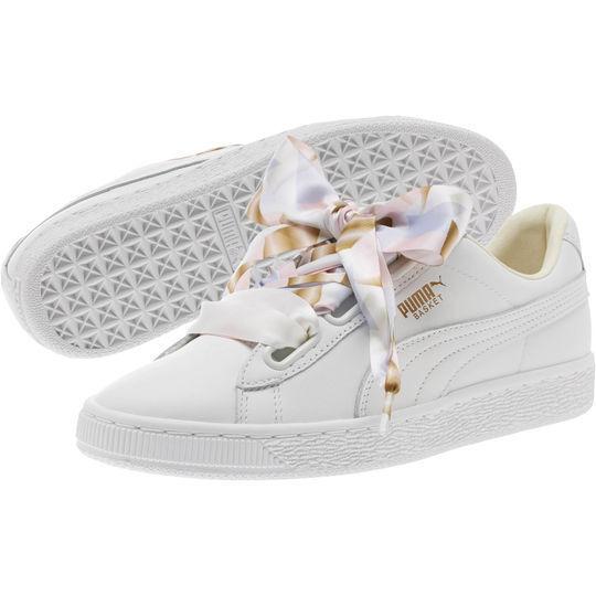 Puma femmes 8.5 Basket Heart Geo Camo Sneakers / blanc Multicolor
