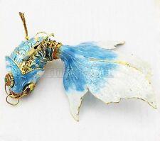 Pretty Sky Blue Vintage Cloisonne Enamel Silver Koi Fish Pendant Top-level