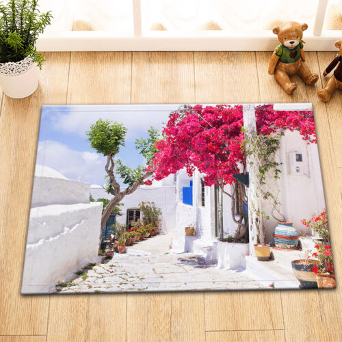 "72//79/"" Island Beautiful Greek Street Flower Shower Curtain Set Waterproof Fabric"
