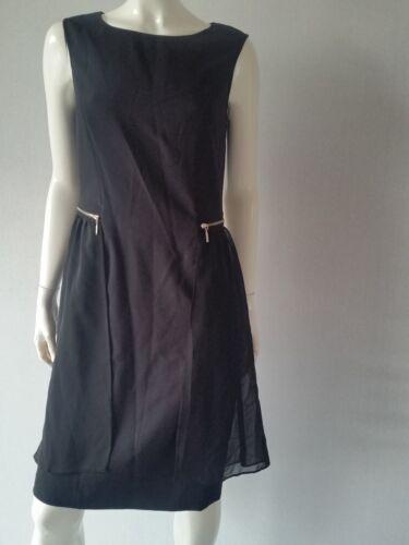 BiBA  Kleid black CS 074 seitlichem Chiffon schwarz Gr.36,38,40--UK10,12,14**NEU