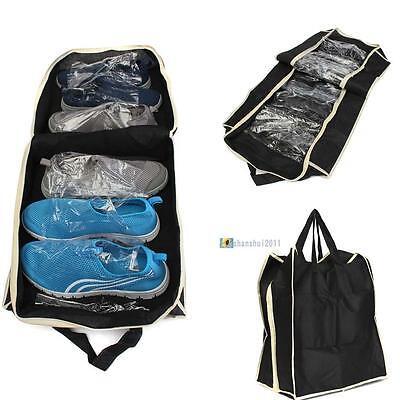 Travel Folding Shoe Storage Organizer Rack Closet Portable Carry on Bag BlackSH