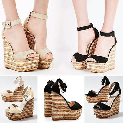 Womens Ladies High Heel Platform Wedge Summer Sandals Espadrilles Party Size UK | eBay