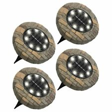 Bell + Howell Solar Powered 8 LED Outdoor Disk Lights, Stone and Slate, 4 Pack