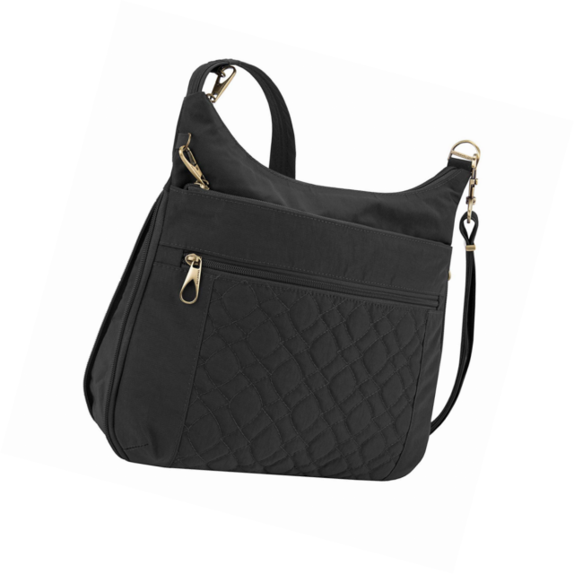 cd3df446a4 Travelon Anti-theft Signature Quilted Expansion Cross Body Bag Black ...