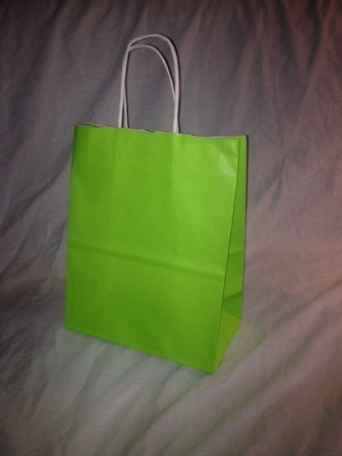 WHOLESALE CASE OF 200 8x10 NEON vert PAPER GIFT SHOPPING BAGS CUBS