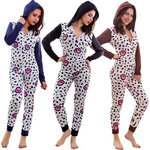 c4f6d14ae Women s pajamas one piece overall hood entire jumpsuit zip cotton ...