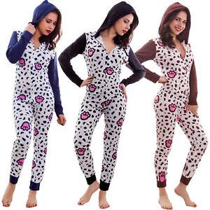 check out ca825 1e7c1 Details zu Pyjamas frau einteiler über alle abzugshaube schlafanzug ganze  reißverschluss