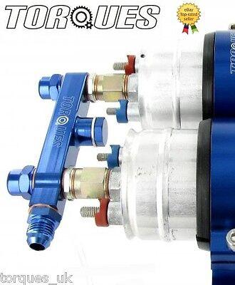 Twin Bosch 044 Fuel Pump Billet Aluminium Assembly OUTLET Manifold In Blue
