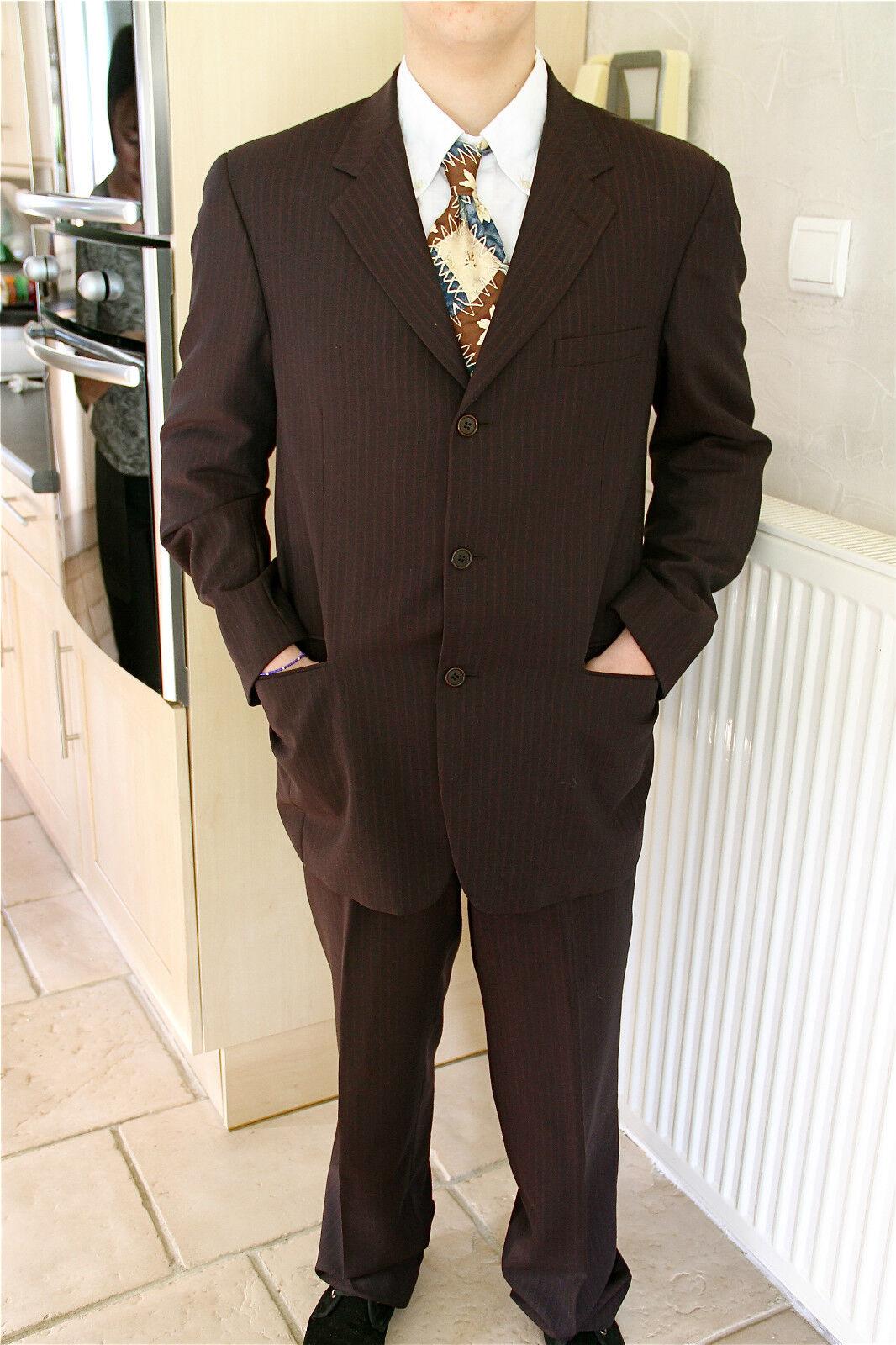 Abito lana luxe grigio a strisce bordeaux CERRUTI 1881 giacca T 52 pantaloni