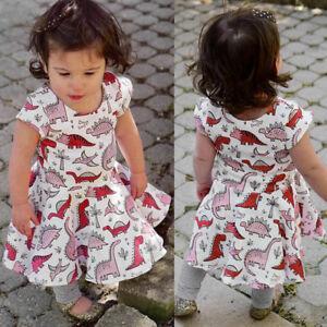Toddler-Baby-Girls-Cartoon-Dinosaur-Print-Short-Sleeve-Sun-Dress-Clothes-Outfits