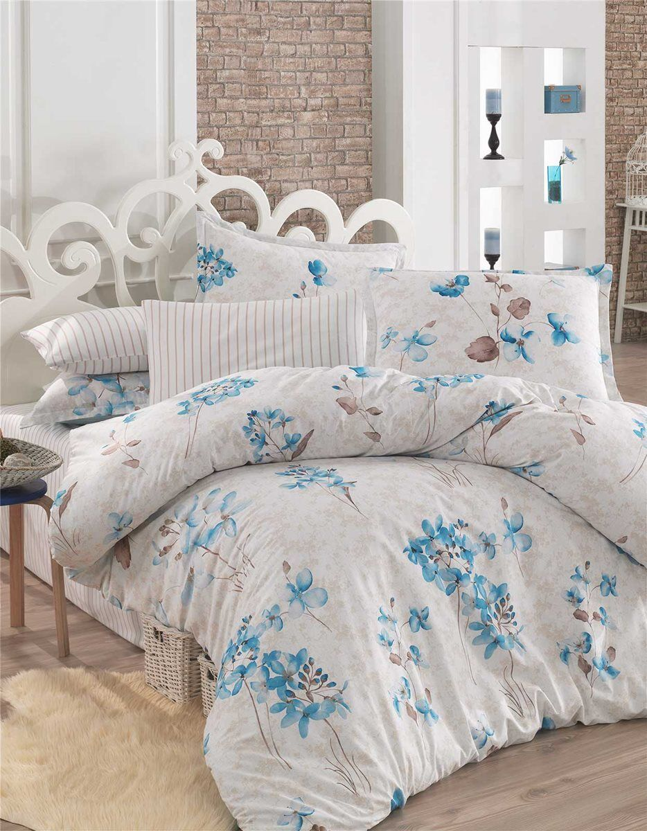 Bettwäsche 200x220 cm Bettgarnitur Bettbezug Baumwolle Kissen 4 tlg YAREN BLAU   | Clearance Sale