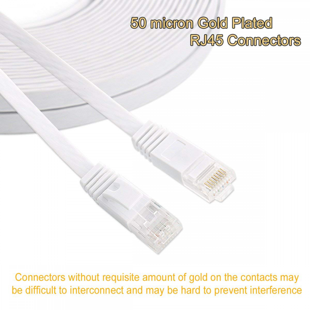 thin 6 Cat6 Ethernet Cable 100 Ft Flat White with Clips jadaol® Network Cable