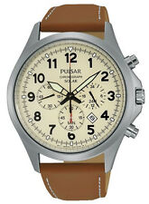 PNP OSS PX5005X1 Pulsar Gents Solar Powered Chronograph Smooth Leather Watch