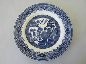 Image is loading VICTORIAN-WARE-Willow-Pattern-Blue-and-White-Porcelain- & VICTORIAN WARE Willow Pattern Blue and White Porcelain Dinner Plate ...