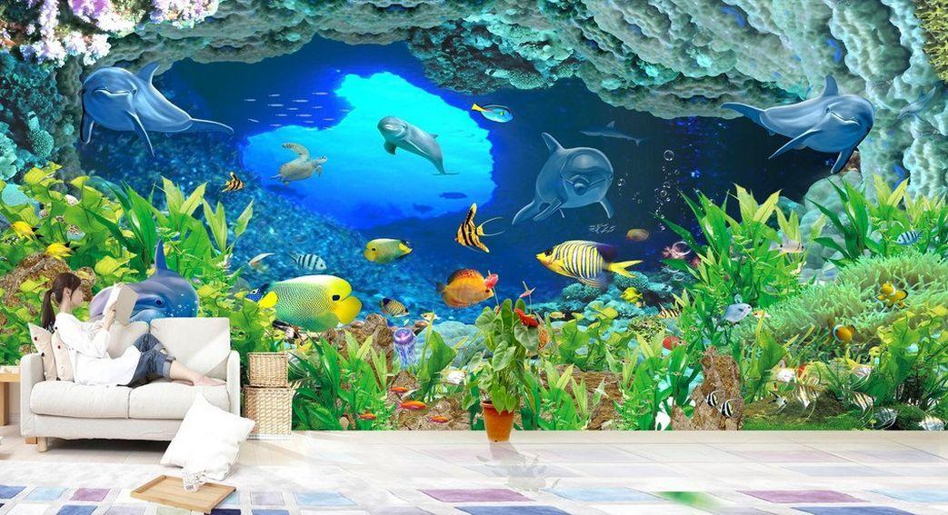3D gredta oceano1 Parete Murale Foto Carta da parati immagine sfondo muro stampa