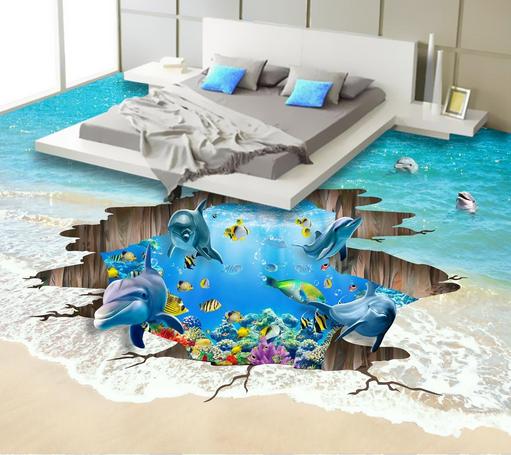 3D Dolphin Beach Ocean 8702 Floor WallPaper Murals Wall Print Decal 5D AU Lemon
