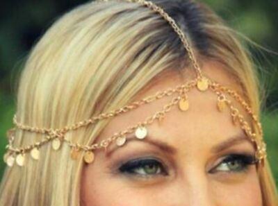 70s Wedding Gold Rhinestone Head Chain Head Accessories headband Head Wear Boho