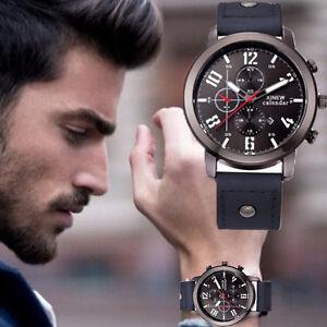 Waterproof-Men-039-s-Date-Stainless-Steel-Leather-Analog-Quartz-Sport-Wrist-Watch-US