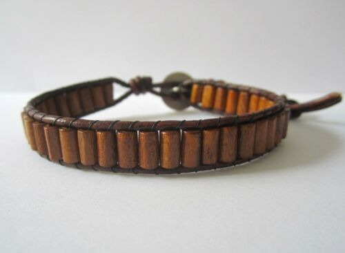 Unisex Men/'s Gift Brown Leather Wrap Bracelet  Brown Wood Beads Indian Button