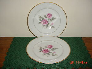 """2PC NORITAKE """"LINDROSE"""" 10 3/8"""" DINNER PLATES/5234/FINE CHINA/WHT-PINK/CLEARANCE"""