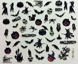 Halloween-3D-Nail-Art-Stickers-Decoration-Witch-Spider-Bat-Pumpkin-Skull-Y140