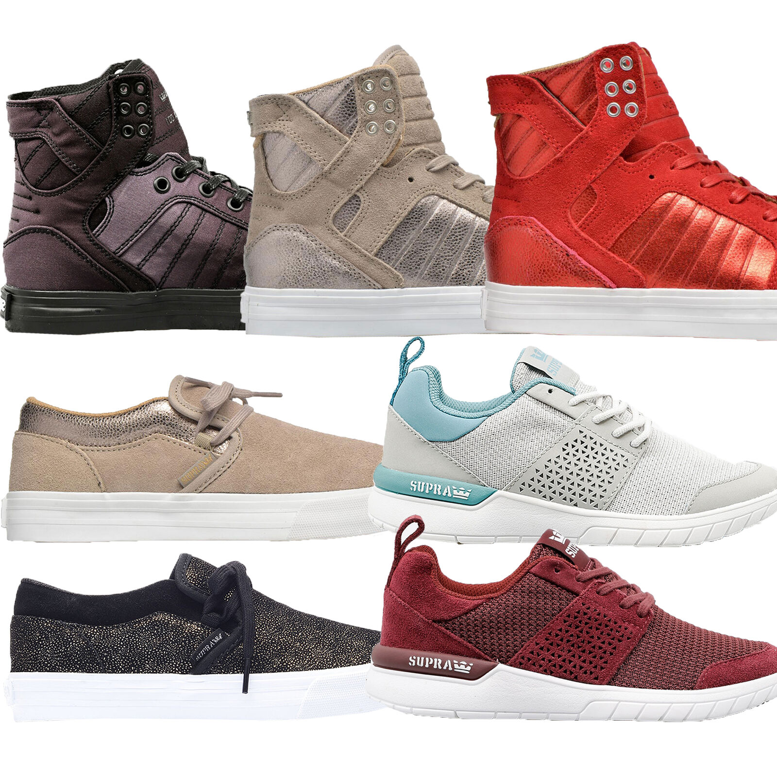 Supra Damenschuhe Hi Lo Top Leder Suede Suede Suede Canvas Lace Up Strap Footwear Trainers 60dd9d