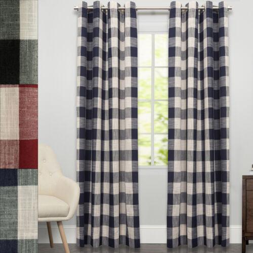 "Courtyard Grommet Plaid Window Curtain Single Panel 84/""x53/"""