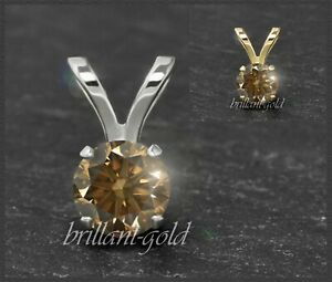 Diamant-585-Gold-Anhaenger-Cognac-Champagner-Brillanten-3-5mm-0-10-0-50ct