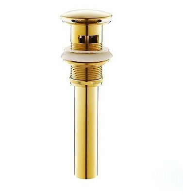Gold Polished Brass Pop-Up Drain Sink Strainer with Overflow