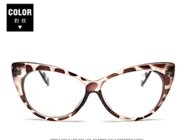 Retro Leopard Eyeglasses Frames Glasses Eyewear Cat Eye Clear Lens ...