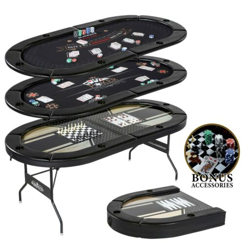 5 In 1 Multi Game Table Poker Blackjack Checker Chess Backgammon Folding 100 PCS