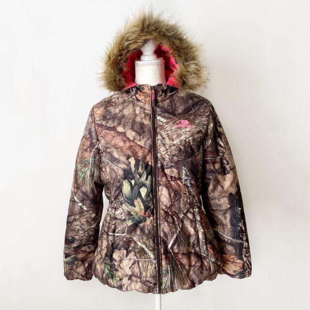 NEW Women MOSSY OAK Camo Camouflage Bubble Fur Jacket Coat w// Pink S XL 2XL