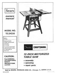 craftsman 113 24250 table saw owners instruction manual ebay rh ebay com craftsman miter saw user manual craftsman circular saw user manual