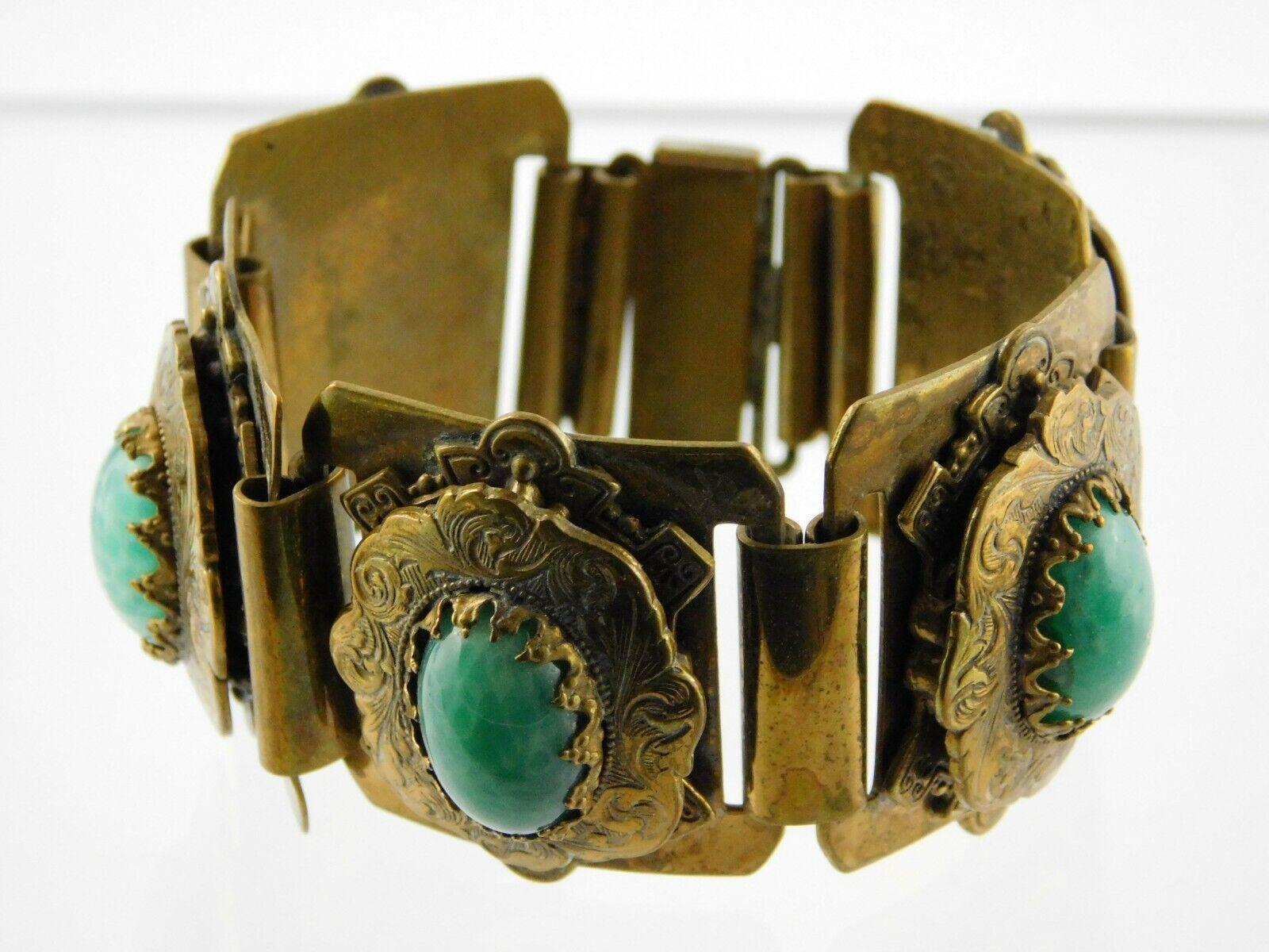 Vintage Czech Panel Bracelet Brass Leaf Green Glass Stones