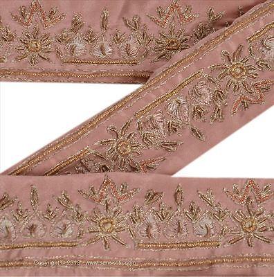 Vintage Sari Border Antique Hand Beaded 2 YD Indian Trim Décor Ribbon Pink Lace