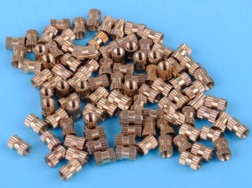 en laiton massif Ronde Filetés molette Insert Embedded écrou Pack 4.3 mm OD 100x M3x6mm