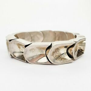Vintage-Taxco-Mexico-Sterling-Silver-925-Heavy-Chunky-Bangle-Bracelet-with-Clasp