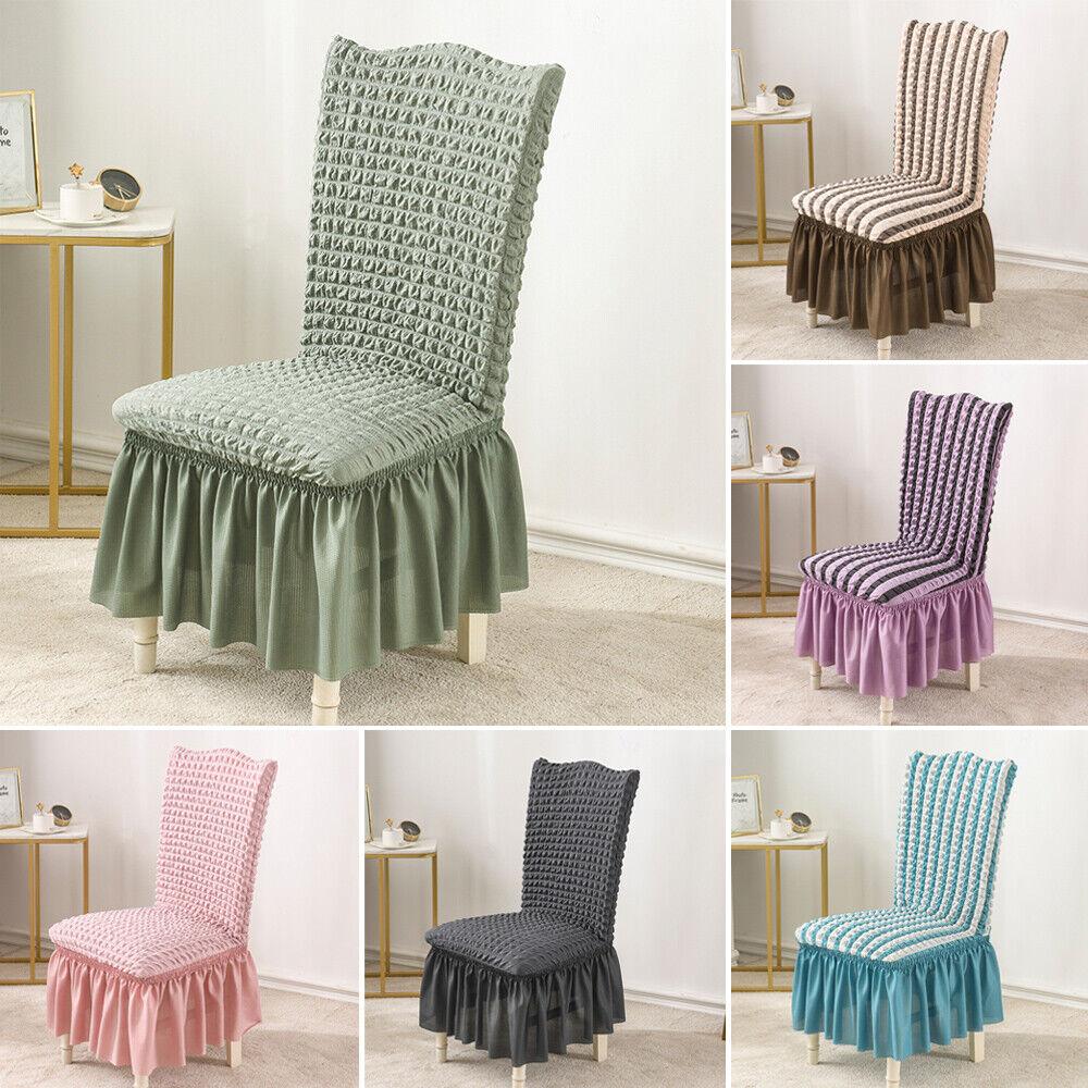 Classic Slipcovers Damask Stripe Ruffled Long Skirt Dining Chair Slipcover For Sale Online Ebay