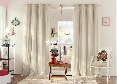 MarryMe:Double Layer Blockout  Bridal Lace GIRLS Curtain(CREAM BEIGE) 140x233cm