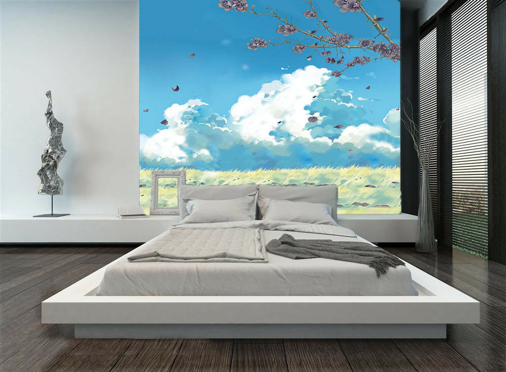 3D Sky Field Tree 724 Wallpaper Mural Paper Wall Print Wallpaper Murals UK Lemon