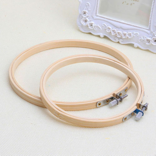 Good Wood Cross Stitch Machine Embroidery Hoop Ring Bamboo Sewing Frame 10-36cm