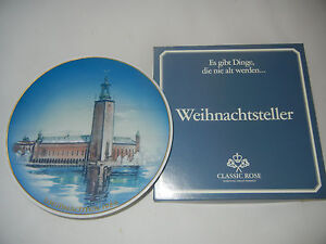 Rosenthal-Christmas-Plate-1984-Stadthaus-To-Stockholm-Boxed-Int-nr-84-7