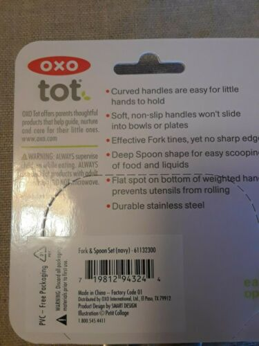 BPA Navy Sturdy Stainless Steel for Durability OXO Tot Training Fork//Spoon Set