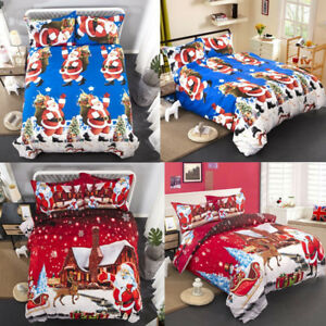 Christmas Duvet Covers Snow Night Bedding Sets Queen King Size Santa